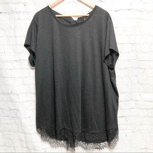 Lauren Conrad black tunic with lace bottom
